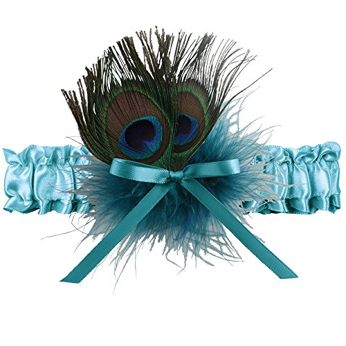 (Ivy Lane Design Katy Marabou Garter with Peacock Feather, Jade)