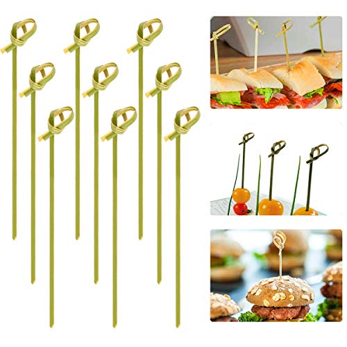 Cosweet 500 Pcs Bamboo Knot Cocktail Skewers Picks, 5 Inches, Great for Hors' D'oeuvre, Appetizers, Cocktail Party or Barbeque Snacks, Club ()