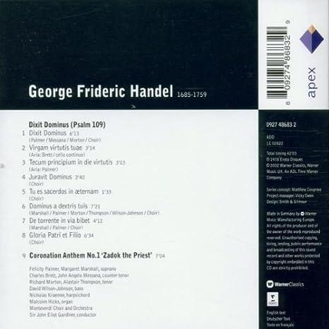 Handel : Dixit Dominus & Zadok the Priest - Apex: John Eliot Gardiner & Monteverdi Orchestra: Amazon.es: Música