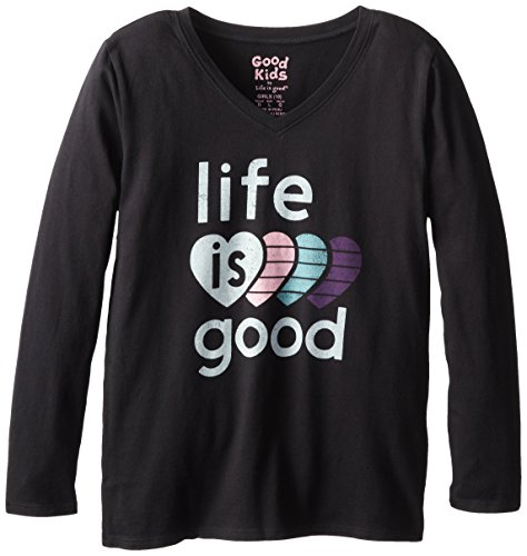 Heart Easy Long Sleeve Tee (Life is good Girl's Easy Long Sleeve Vee LIG 4 Hearts T-Shirt (Night Black), Small)
