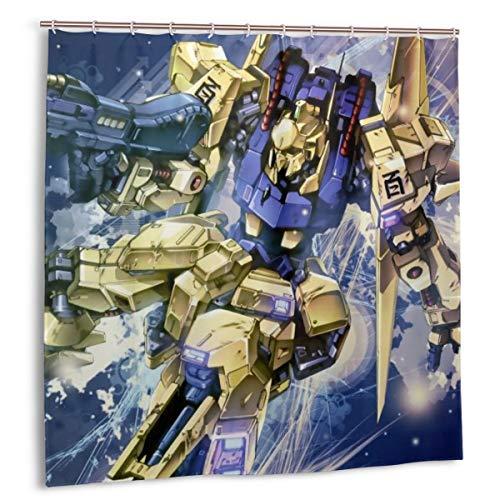 PHOEBE DOHERTY Gundam Z-Hyaku Shiki'MSN-00100' Anime Decor Shower Curtain 72x72 in with 12 Pack Plastic Hooks for Bathroom