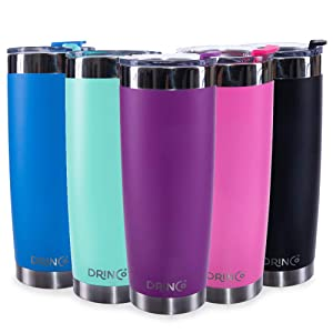 Drinco - Vacuum Insulated Stainless Steel Travel Coffee Tumbler Mug Cup Pint With Spill Proof Flip Lid For Hot & Cold Drink Fits Straw BPA Free 20oz, Pink