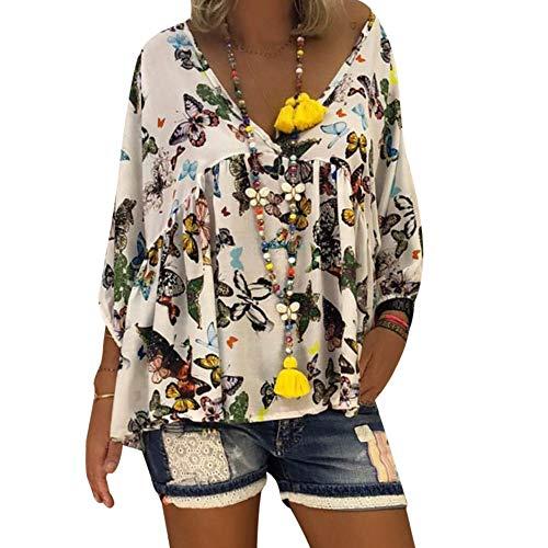 Bureau Printemps Chemise Manche Affaires Longue Papillon Chic Top Shirt Automne Lache Imprim V Blanc Dihope Femme Casual T Blouse Chemisier Cou UY5w6q