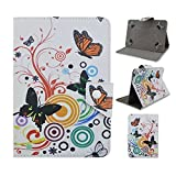 Tsmine Vulcan Journey VTA0703 Tablet Flip Butterfly Flower Case - Universal Protective Lightweight Premium Fashion Flora Printed PU Leather Case Cover, Colorful Butterfly Flower