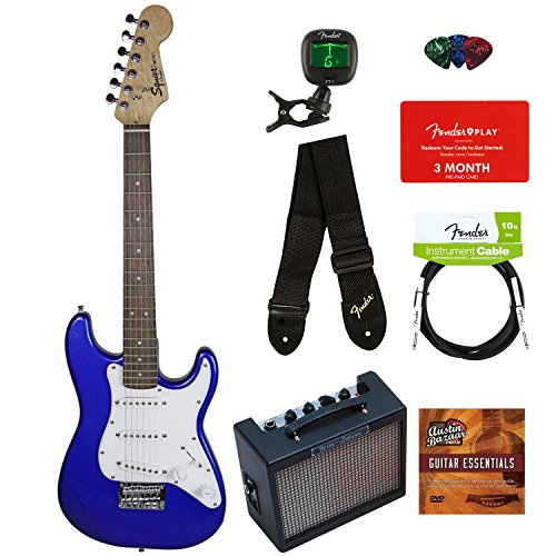Squier by Fender Mini Strat Electric Guitar - Imperial Blue Bundle with Amplifier, Instrument Cable, Tuner, Strap, Picks, Fender Play Online Lessons, and Austin Bazaar Instructional DVD -