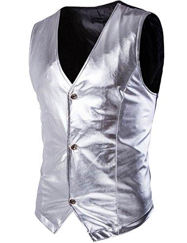 Zeroyaa Mens Night Club Slim Metallic Gold Suit Vest/Tuxedo Costume Vest (US XS/Tag Asian M, Silver)