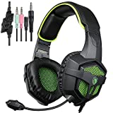 SADES SA807 Gaming Headset for Xbox One PS4 PC Laptop Mac Tablet Smartphone iPad iPod iPhone, Stereo Headphone with Microphone by Afunta - Black + Green