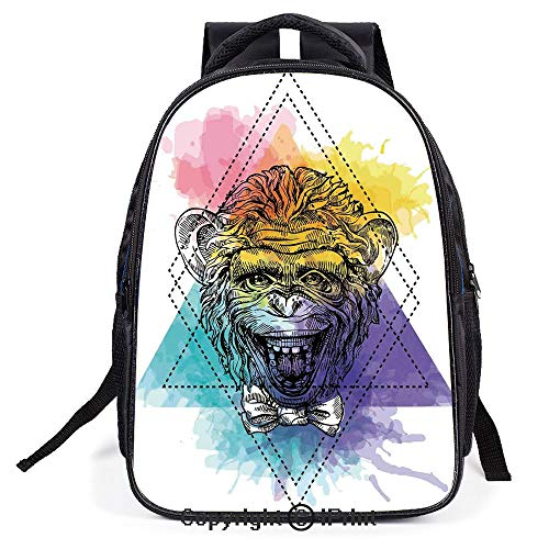 School Student Backpack Waterproof Schoolbag,Funny Monkey Animal with a Bowtie on Geometric Artistic Watercolor Style Backdrop Decorative,Lightweight Prints Book bag