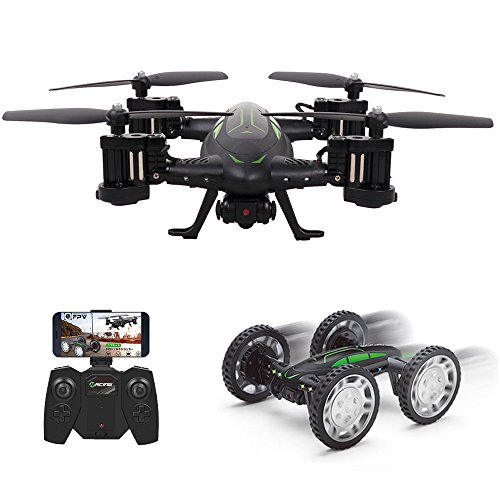 RC Drones for Kids, Drone with 720P Live Camera, Rolytoy Remote Control Off-Road Car WiFi Quadcopter Buggy 360°Flip Flying Cars Headless Mode with 2 Rechargeable Batteries