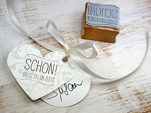 Stempel SCHÖN! DASS DU DA BIST Hochzeit, Gäste, Feier, Einladung, Konfirmation, Taufe, Kommunion, Tischdekoration, handmade, DIY Gäste