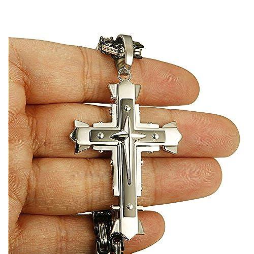 90d0891bc6d0 Besteel 5MM Acero Inoxidable Collar Cruz para Hombre Mujer Cadena Bizantina  Colgante Cruz Collar Rock
