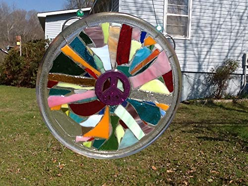 Purple Peace Sign Stained Glass Window Art Sun Catcher by Mountain Mosaics (Image #2)