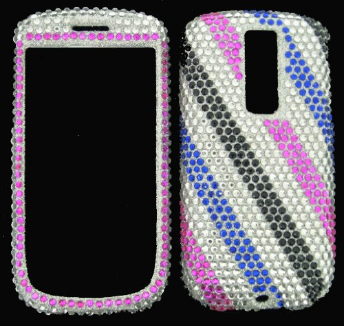FULL DIAMOND CRYSTAL STONES COVER CASE FOR HTC MYTOUCH G2 PINK BLUE STRIPES