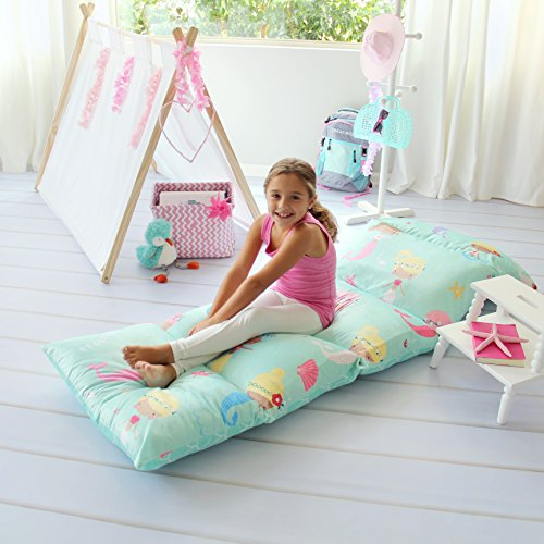 Kid's Floor Pillow Bed Cover - Use as Nap Mat, Portable Toddler Bed or inflatable air mattress alternative for Sleepovers, Travel, Napping, or as a Lounger for Reading, Playing. Cover Only! (Kids Butterfly Chairs)