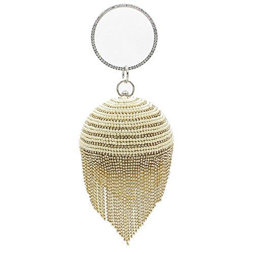 Circulaire Gold discothèques Pochette à Miss de étincelante Cristaux soirée Brillants Mariage Joy Sac de de Mariage pour Femmes Main Forme Diamante Strass des BxxwEWHfq
