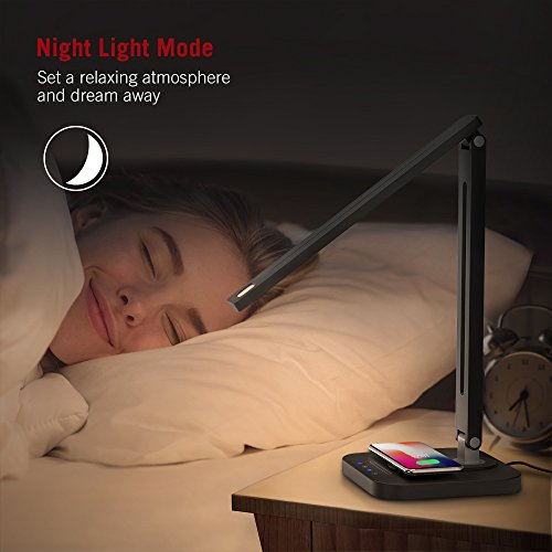 TaoTronics LED Desk Lamp with Qi-Enabled Wireless Fast Charger, USB Charging Port, 5 Color Temperatures & 5 Brightness Levels, Night Light Mode, 1 Hour Timer, Black, Philips Enabled Licensing Program