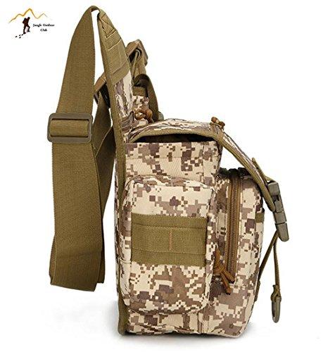 Jungle Oxford Small Saddle Bag Satteltasche Schultertasche Kamera Tasche MOLLE TACTICAL Taschen Wild Tasche Wandern Klettern Radfahren BBQ Runner Rucksack tragbar, Khaki