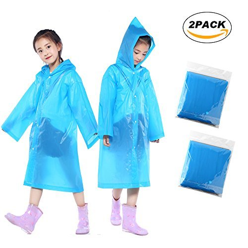 Children Rain Ponchos, 2 Pack Portable Reusable  Raincoats For 6-12 Years (Joes Poncho)