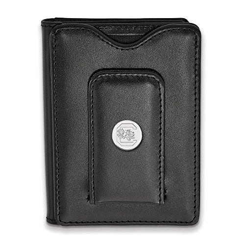 South Carolina Black Leather (Solid 925 Sterling Silver University of South Carolina Black Leather Wallet)