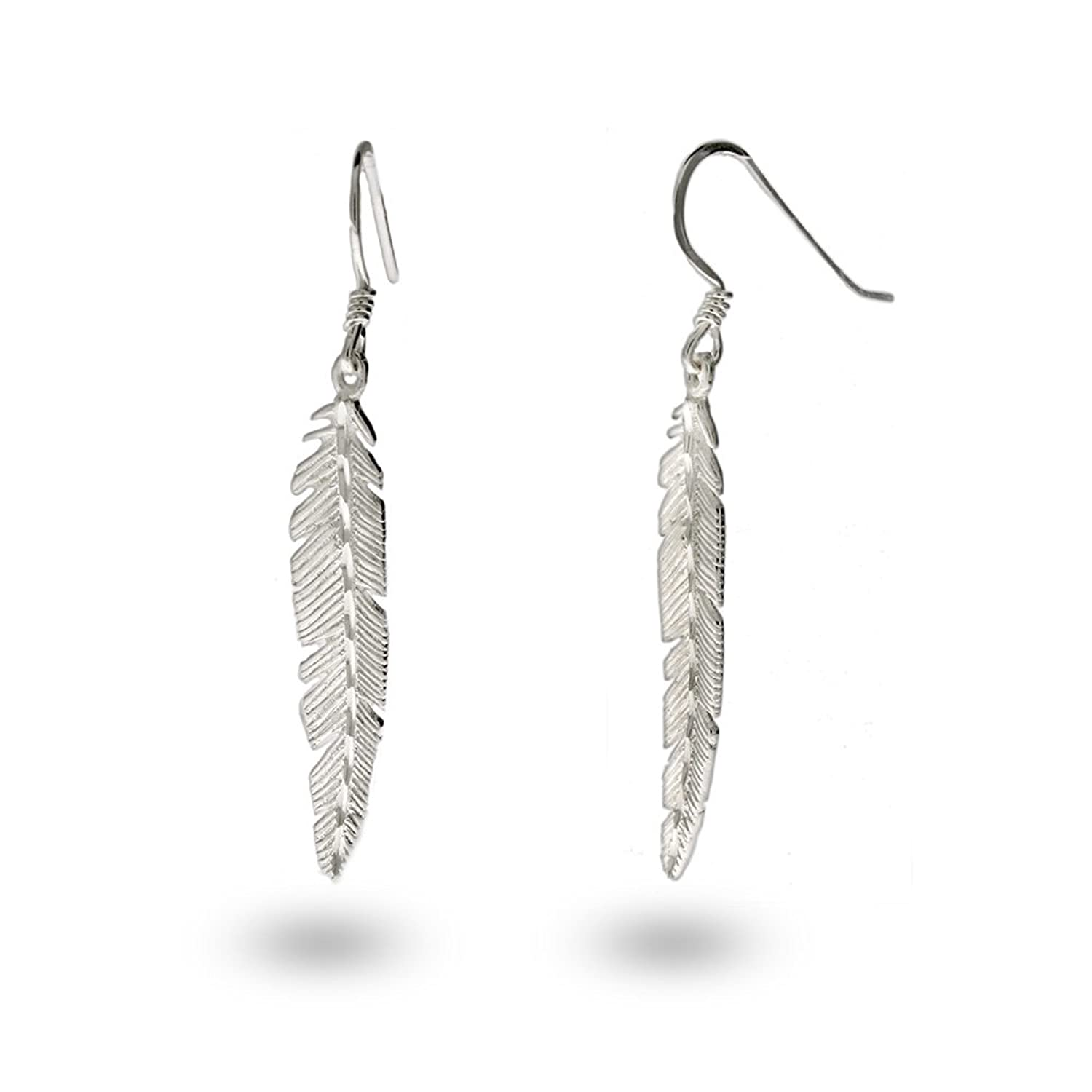 feathered minimalist products earrings balsamroot silver jewelry feather