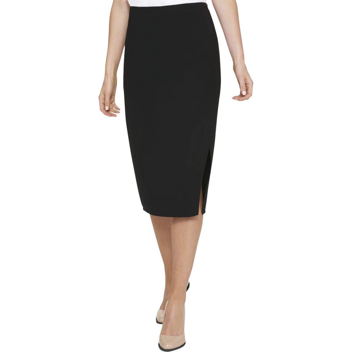7d34bf8d204e3 Amazon.com  DKNY Womens Crossover Front Knee Straight Pencil Skirt Blacks   Clothing