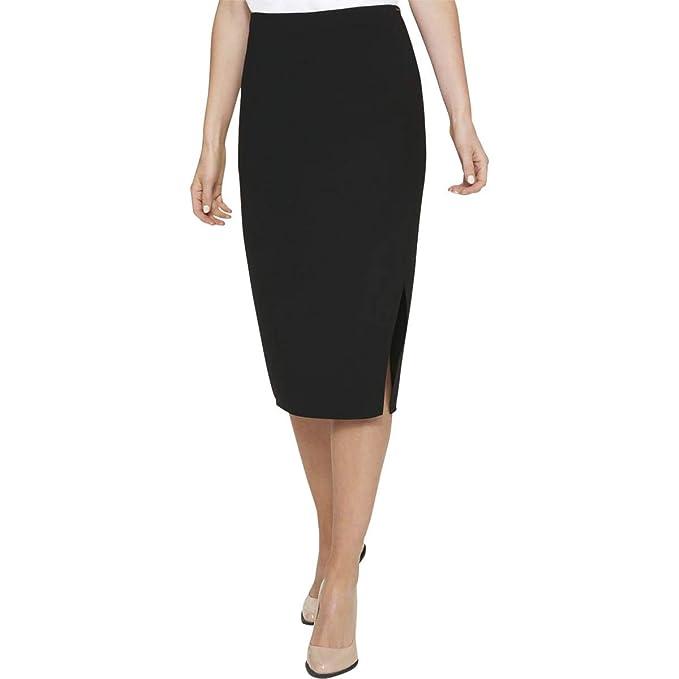 DKNY $79 Womens New 1450 Black Slitted Below The Knee Pencil Skirt 10 B+B