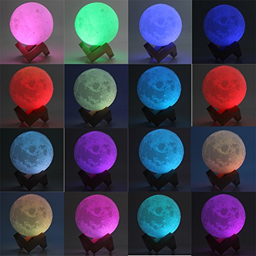 Moon Lamp 3D Printed Remote Control Night Light 16 RGB Colors Changing Dimmable LED Mood Light USB Rechargeable Moonlight 12cm/4.7 inch With Wood Stand (12cm) by Sourcebuy (Image #5)