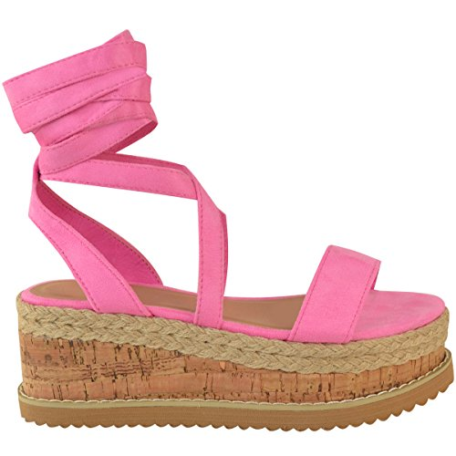 Fashion Thirsty Heelberry® Womens Ladies Flatform Cork Espadrille Wedge Sandals Ankle Lace up Shoes Size Barbie Pink Faux Suede vjzRz8RFU