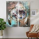'HommomH' 28 x 48 inch Curtains (2 Panel) Grommet Top Darkening Blackout Room Wolf Dream Catcher