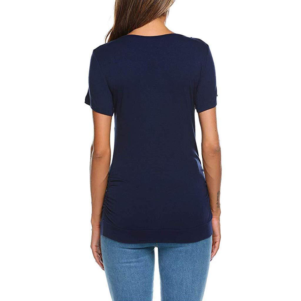 Sommer Kurzarm Beil/äufig Hemd mit Knopf Solike Damen Umstandsshirt Einfarbig Mutterschaft Pflege Schwanger Mama T-Shirt zum Einfaches Stillen Oberteile