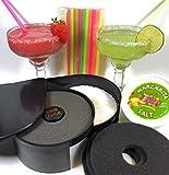 Summit Bar Glass Salt Rimmer Party Bundle for Margaritas & Cocktails | Rimmer, 8oz Salt Container, Neon Straws, Replacement Sponges & Two 13.5oz Glasses | 3-Tier Rotating Trays Salt Sugar & Lime Juice