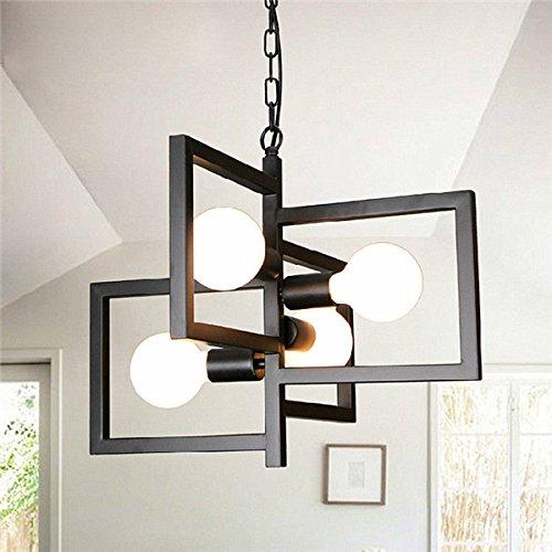 ACHKL E27 4 Heads Industrial Pendant Light Chandelier Ceiling Lamp for Kitchen Room Office AC110-250V ()