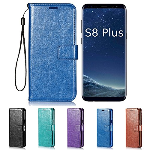 Price comparison product image Galaxy S8 Plus Case, HLCT PU Leather Case, With Soft TPU Protective Bumper, Built-In Kickstand, Cash And Card Pockets, For Samsung Galaxy S8 Plus (Blue)