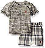 U.S. Polo Assn... - Juego de Playera y Pantalones Cortos para niño, Red Logo Multi Plaid, 3 Años