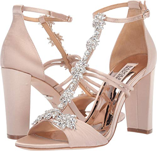 Badgley Mischka Women's Laney Heeled Sandal, Nude Satin, 5 M US from Badgley Mischka