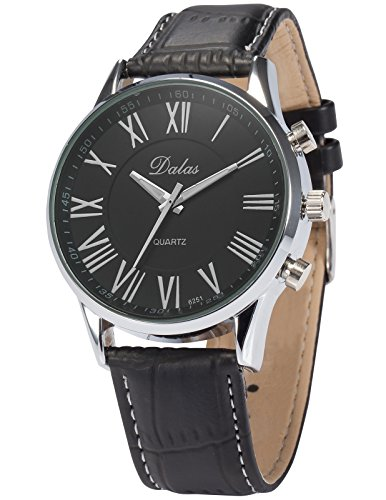 (AMPM24 Black Dial Leather Band Watch, Rome Numeral Analog Dial Quartz Mens Fashion Dress Casual Wrist Watch, Holiday Gift for Boy Men)