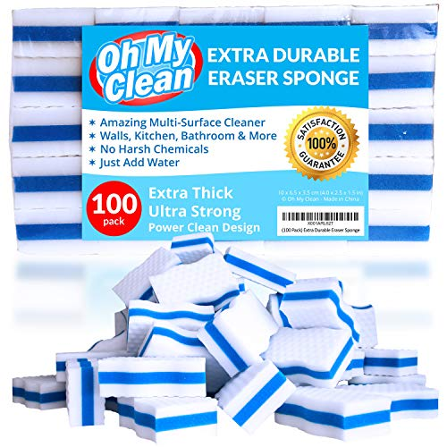 (100 Pack) Extra Durable Eraser Sponge - Extra Thick, Long Lasting, Premium Melamine Sponges in Bulk - Multi-Purpose Power Scrubber - Bathroom, Kitchen, Floor, Bathtub, Toilet, Baseboard, Wall Cleaner