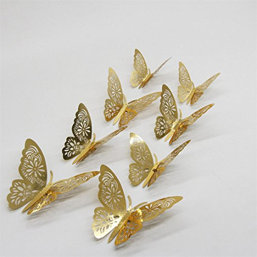 YJYdada 12PCS Butterfly Silver Mirror Decoration Home Room Art 3D DIY Wall Stickers (Gold) ()