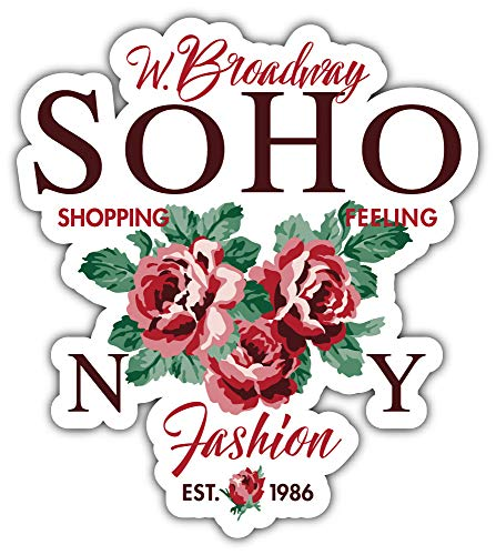 SkyLabel Soho New York Shopping Bumper Sticker Vinyl Art Decal for Car Truck Van Wall Window (8'' X 10'') (Soho-shopping New York)