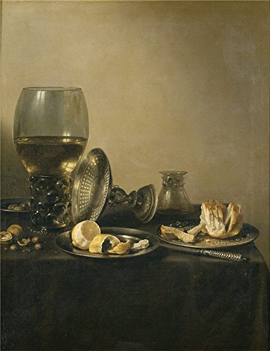 Oil Painting 'Claesz Pieter Bodegon Con Copa Rmer Tazza De Plata Y Panecillo 1637 ' Printing On Polyster Canvas , 10 X 13 Inch / 25 X 33 Cm ,the Best Powder Room Decor And Home Artwork And Gifts Is This High Resolution Art Decorative Prints On Canvas