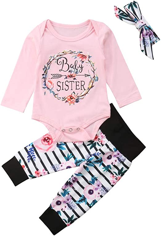 Newborn Infant Baby Girl Outfits Clothes Romper Bodysuit Pants Legging Set 0-24M