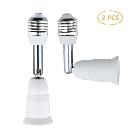 Luxvista E27 a E27 Adaptador de lámpara Extensor Ajustable, E27 Bombilla Led Portalámpara flexible Con 180 Grados de Inclinación, convertidor de ...