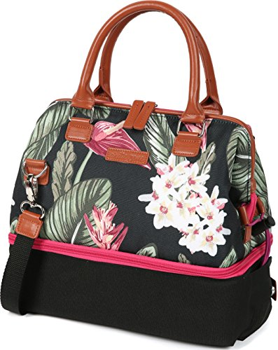 Arctic Zone 44-66078-00-08 Thermal Insulated Lunch Tote, 2 Compartments, Tropic Floral Foliage - Thermal Tote Floral