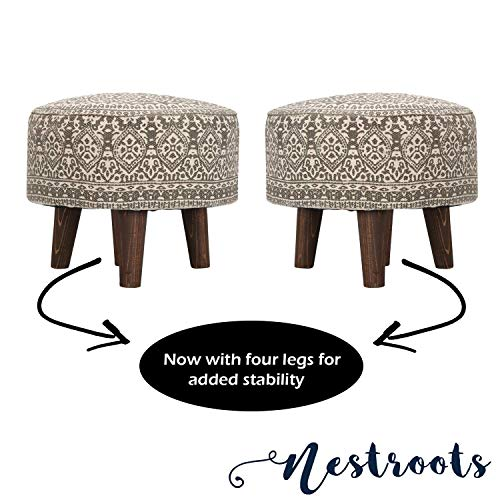 "Nestroots Ottoman Foot Stool for Living Room sitting printed ottoman upholstered foam cushioned pouffe puffy for foot rest home furniture with 4 wooden legs Cotton Canvas (""14″inch Height Grey Set of 2)"