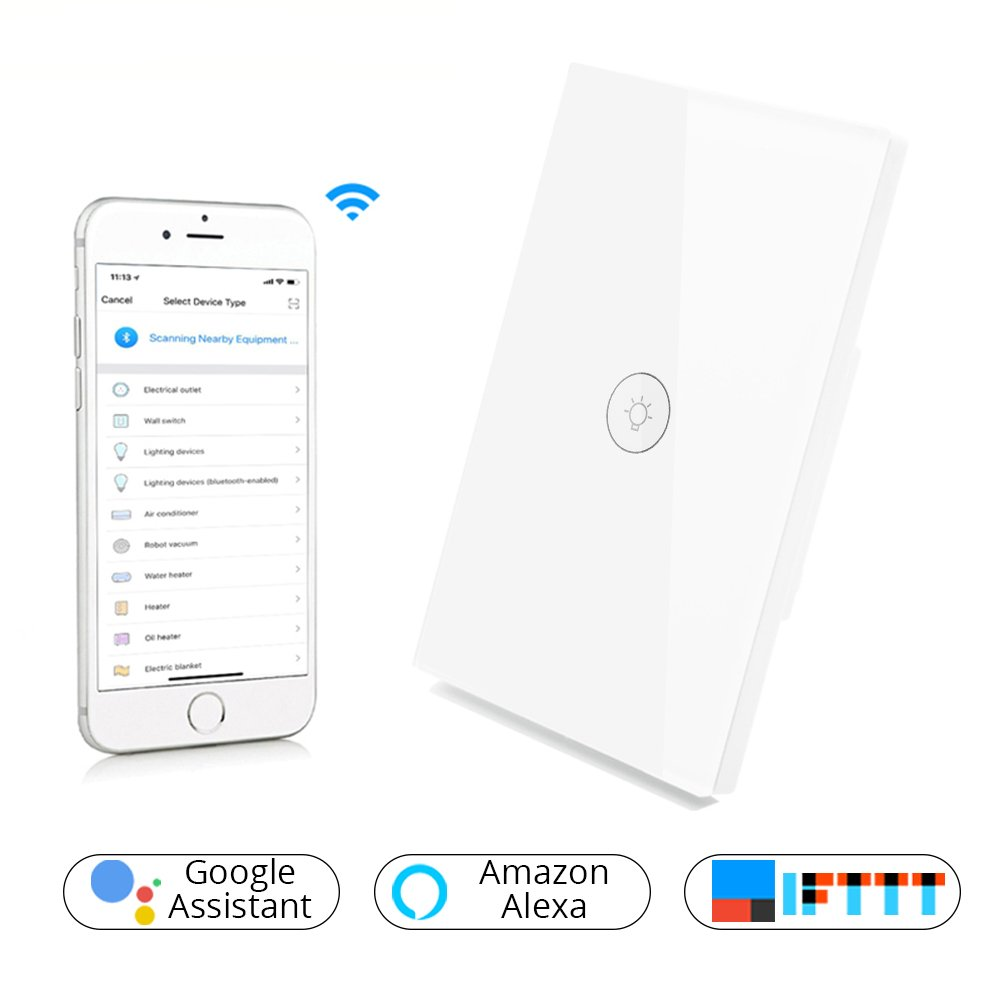 WiFi Smart Wall Light Switch Glass Touch Panel Wireless Remote Control by Mobile APP Anywhere Work with Amazon Alexa,Timing Function No Hub Required (Wall Switch 1 Gang)