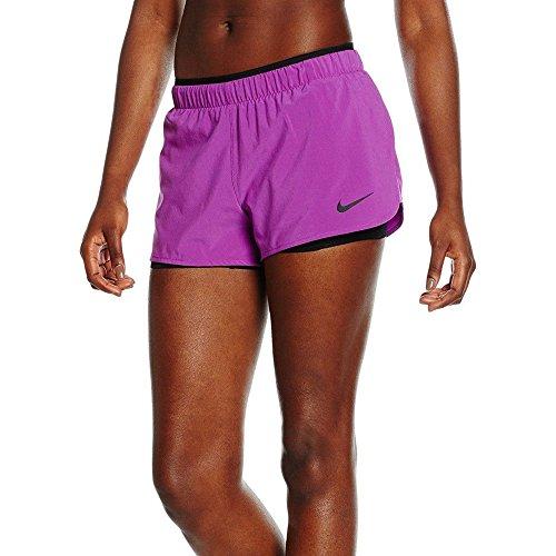 Nike Women's Dri-Fit Full Flex 2 in One Running Shorts Purple Black 871805 556 (l)