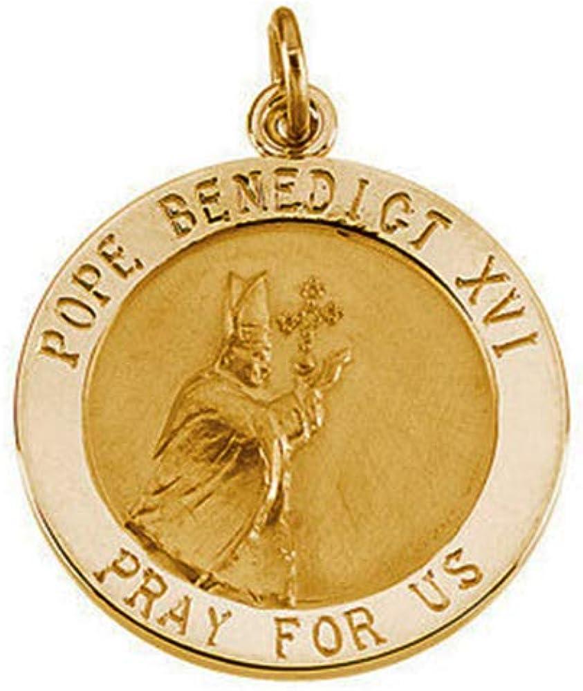 Eliana and Eli 14K Yellow 18mm Round Pope Benedict Medal