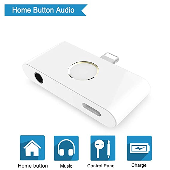 pretty nice fa6fa 3b2ff UWECAN Home Button Audio Adapter for iPhone X,2018 CES Hot Newest Item -  with DC3.5mm Earphone Jack - Support Music and Charging at The Same time -  ...