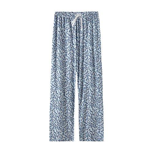 (Feelingjoy Women's 95% Modal Soft Knit Pajama Lounge Pants Floral Print Drawstring Long Wide Leg PJ Bottoms)