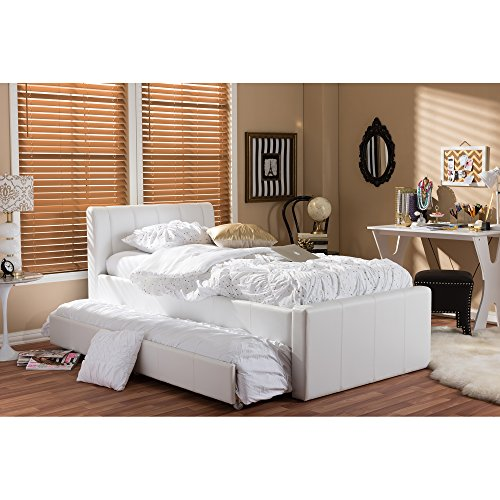 (Baxton Studio BBT6469-Twin-White Cosmo Modern and Contemporary Black Faux Leather Trundle Bed, Twin, White)